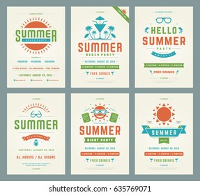 Retro summer party design posters or flyers set. Night club event typography. Vector template illustration EPS 10.