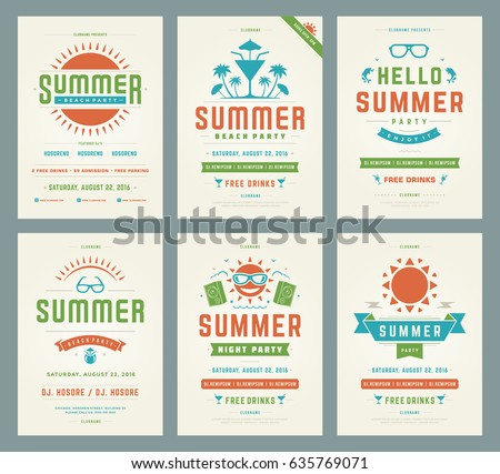 retro summer party design posters flyers stock vector royalty free