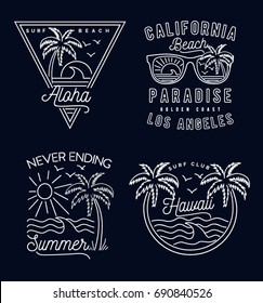 Retro summer print set. For t-shirt and other uses