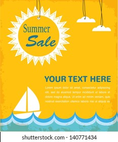 retro summer sale poster, infographic illustration