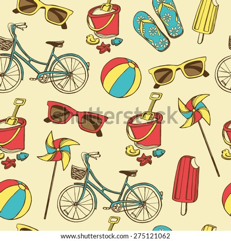 87fadd56127317 Retro Summer Vacation Seamless Pattern Hand Stock Vector (Royalty ...