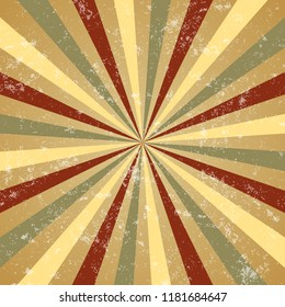 Retro sunbeam or sunray background with vintage grunge effect.