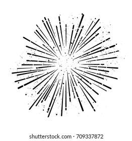 Retro sunburst - grungy vector art