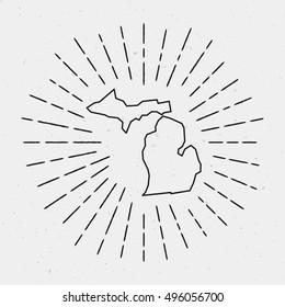 Retro Sunburst Hipster Design. Michigan Map Surrounded by Vintage Sunburst Rays. Trendy Hand Drawn Sun Rays Black Element on White Background.
