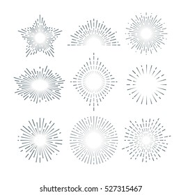 Retro sunburst, radiant starburst, vintage abstract sunshine line vector set.