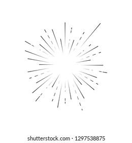 Retro Sunburst Signs Black Thin Line Light Symbol Oval. Vector illustration of Vintage Sun Rays