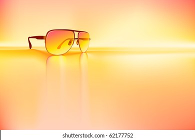Retro sunglasses rendered using gradient meshes and regular gradients.