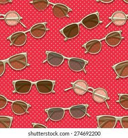 Retro sunglasses seamless pattern