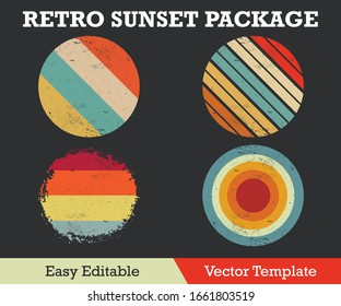 RETRO SUNSET WITH GRUNGE PACKAGE VECTOR TEMPLATE