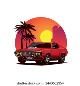 retro super car with sunset city background