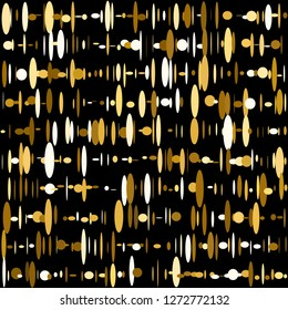 Retro Surface Ellipse Pattern. Intersecting Circular Elements in Rows.   Golden Dynamic Vector Seamless Ellipse Pattern. Background Repeat With Flat Geometric Elements. Grid From Ellipses, Ovals.