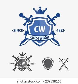 Retro sword badges and shields logo design elements