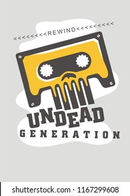Retro t shirt print design with audio tape and skull image. Eighties nostalgia poster idea. Dance and music theme.