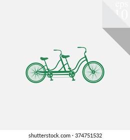 Retro tandem bicycle vector icon.