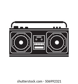 Retro tape recorder outline vector illustration. Vintage cassete record player silhouette isolated on white. Tape recorder icon.