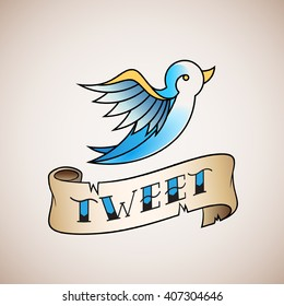 Retro Tattoo Style Abstract Vector Bird Icon with Tweet Banner. Blue on Beige Background.