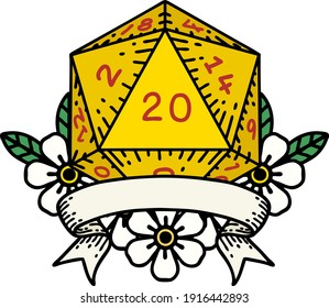 Retro Tattoo Style natural 20 critical hit D20 dice roll