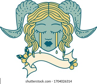 Retro Tattoo Style tiefling character face