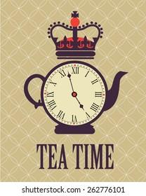 retro tea time in London poster