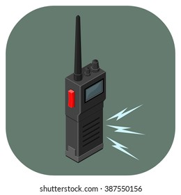 Retro Technology communications device. A vector illustration icon of a walkie talkie. Flat icon communication concept.