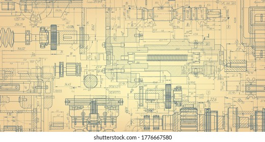 Retro technology drawing .Engineering plan scheme .Mechanical Engineering drawing .Computer aided design systems.Industrial Technology Banner.Vector illustration .
