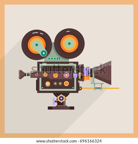 retro technology icon camcorder professional video camera flat vector illustration