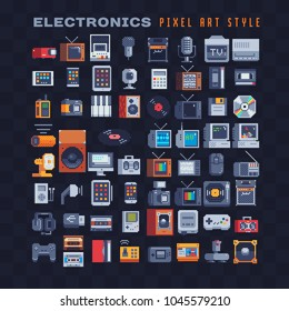 Retro technology items icons set, electronic devices pixel art 80s style. Gamepad icon. Old PS, TV. Design for sticker, music application. Video game 8-bit sprite. Isolated vector illustration.