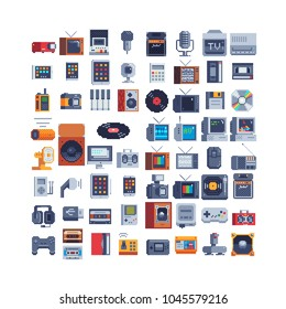 Retro technology items icons set, electronic devices pixel art 80s style. Gamepad icon. Old PS, TV. Design for sticker, music application. Video game assets. Isolated vector illustration.