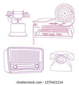 Retro telecommunication, phones, old radio and telegraph. Line art drawing.