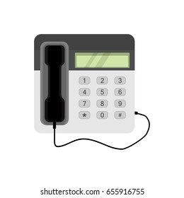 Retro telephone. Office connection equipment: phone. Vector illustration