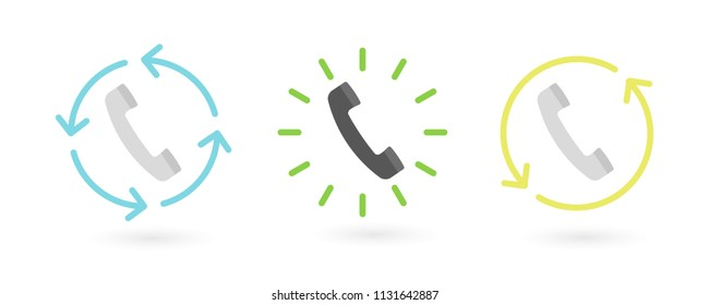 Retro telephone receiver with circles and arrows. Call back, backup, ringing concept. Vector illustration, flat design
