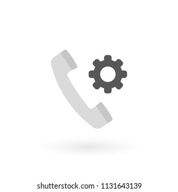 Retro telephone receiver icon isolated. Handset symbol. Settings sign. Vector illustration, flat design