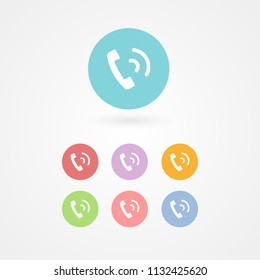Retro telephone receiver ringing icon. Concept of incoming, outgoing, service, call center, support, contact, information. Handset sign for logo, app, web, UI design. Vector illustration, flat design