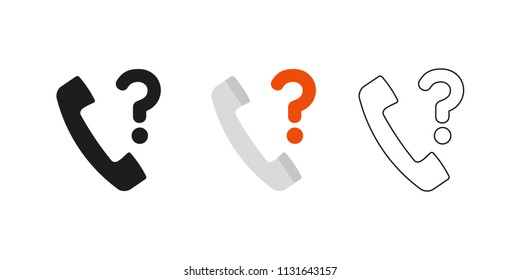 Retro telephone receiver. Three different styles: black, color and outline. Handset symbol. Query sign. Vector illustration, flat design