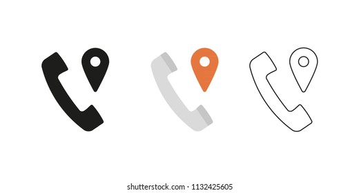 Retro telephone receiver. Three different styles: black, color and outline. Handset symbol. Location sign. Vector illustration, flat design