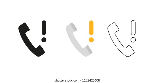 Retro telephone receiver. Three different styles: black, color and outline. Handset symbol. Exclamation sign. Vector illustration, flat design