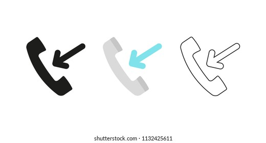 Retro telephone receiver. Three different styles: black, color and outline. Handset symbol. Incoming sign. Vector illustration, flat design
