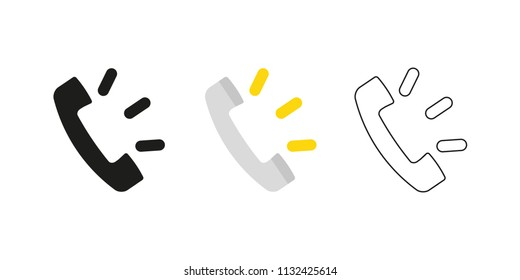 Retro telephone receiver. Three different styles: black, color and outline. Handset symbol. Ring sign. Vector illustration, flat design