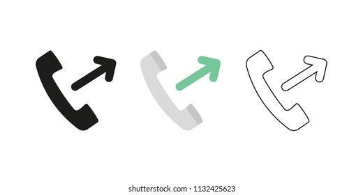 Retro telephone receiver. Three different styles: black, color and outline. Handset symbol. Outgoing sign. Vector illustration, flat design