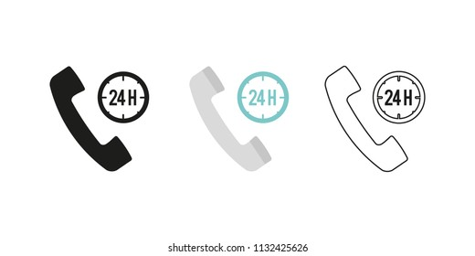 Retro telephone receiver. Three different styles: black, color and outline. Handset symbol. 24 hours sign. Vector illustration, flat design