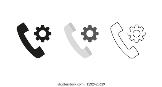 Retro telephone receiver. Three different styles: black, color and outline. Handset symbol. Settings sign. Vector illustration, flat design