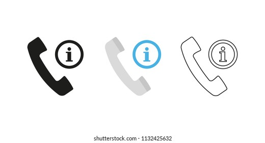Retro telephone receiver. Three different styles: black, color and outline. Handset symbol. Information sign. Vector illustration, flat design