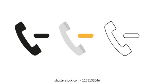 Retro telephone receiver. Three different styles: black, color and outline. Handset symbol. Negative sign. Vector illustration, flat design