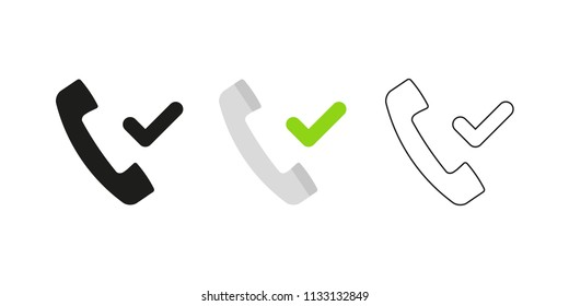 Retro telephone receiver. Three different styles: black, color and outline. Handset symbol. Check mark, green tick sign. Vector illustration, flat design