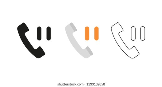 Retro telephone receiver. Three different styles: black, color and outline. Handset symbol. Pause sign. Vector illustration, flat design