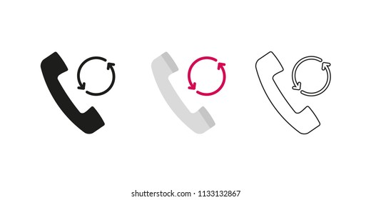 Retro telephone receiver. Three different styles: black, color and outline. Handset symbol. Backup sign. Vector illustration, flat design