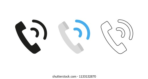 Retro telephone receiver. Three different styles: black, color and outline. Handset symbol. Ringing sign. Vector illustration, flat design