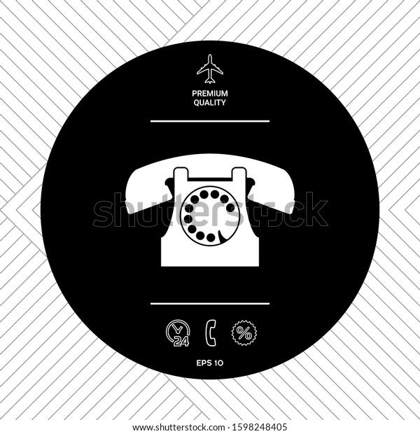 Retro telephone symbol. Graphic elements for your design