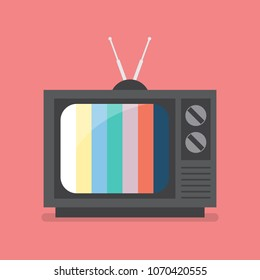 Retro Television with color frame. Vector illustration