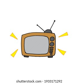 retro television icon. old fashioned tv vector illustration on white background. classic, old device. hand drawn vector. doodle art for logo, label, sticker, clipart, poster, banner, advertising.